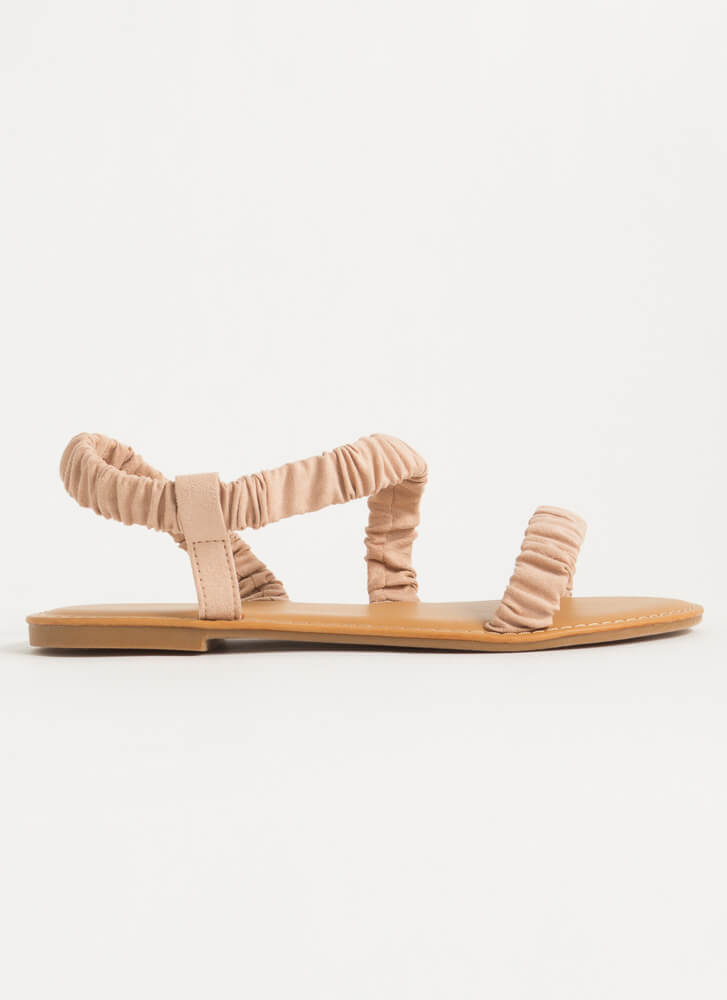 Fun Day Out Scrunchy Strap Sandals NUDE