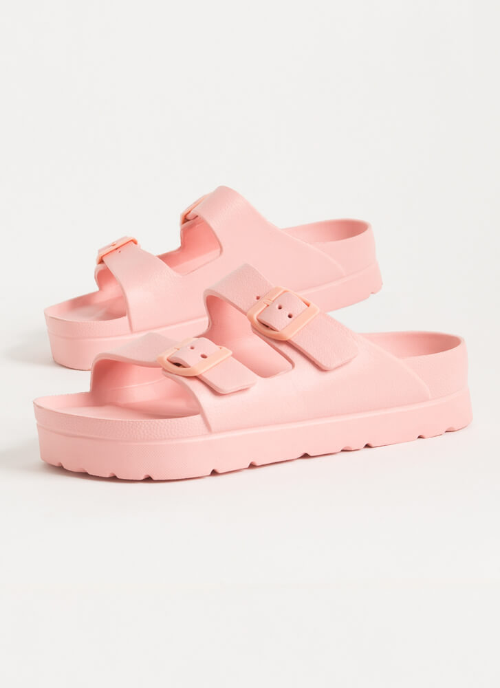 Cool Girl Buckled Jelly Slide Sandals PINK