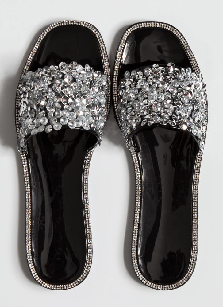 Gem-pire Jeweled Jelly Slide Sandals BLACK