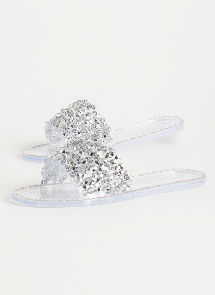 Gem-pire Jeweled Jelly Slide Sandals CLEAR