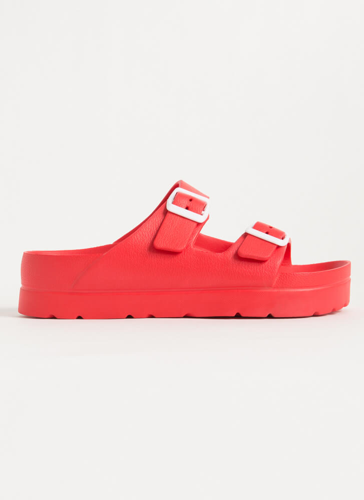 Just Perfect Buckled Platform Sandals RED