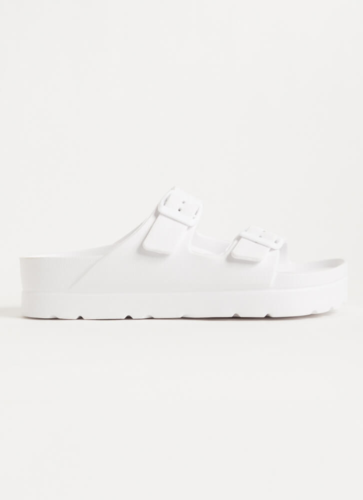 Just Perfect Buckled Platform Sandals WHITE