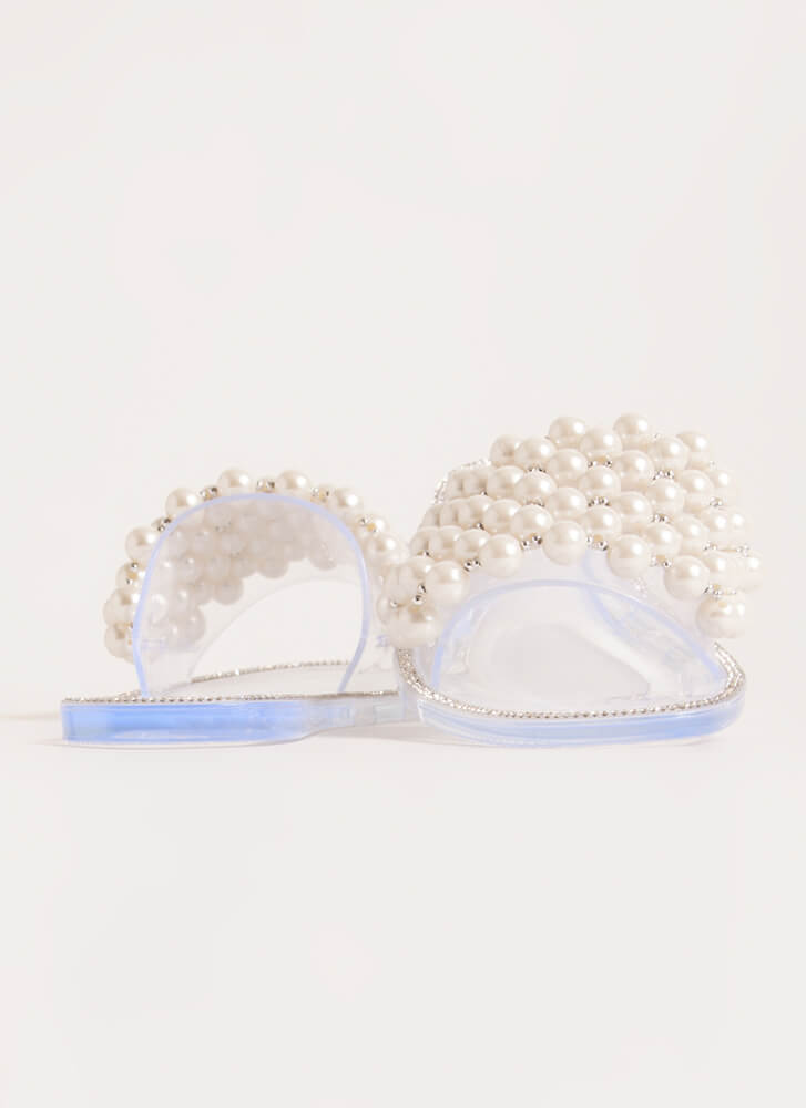 My Pearls Jeweled Jelly Slide Sandals CLEAR