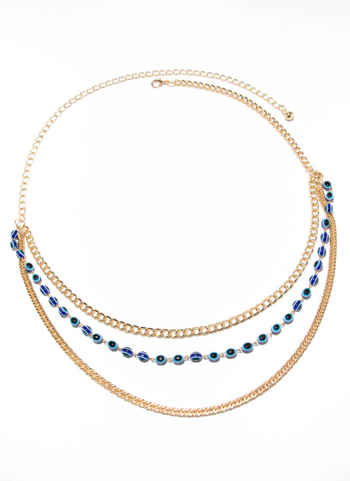 You Can't Bead It Draped Chain Belt BLUE