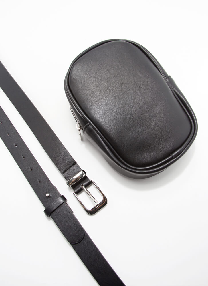 Don't Forget Me Pouch And Belt Set BLACK