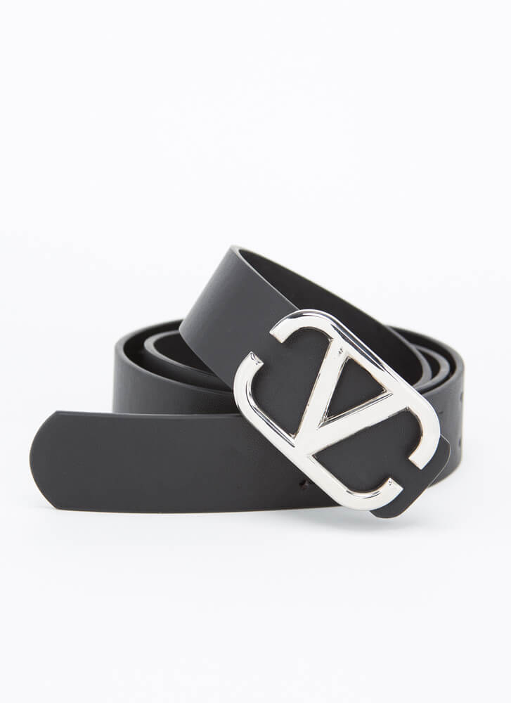 V Mine Forever Faux Leather Belt BLACK