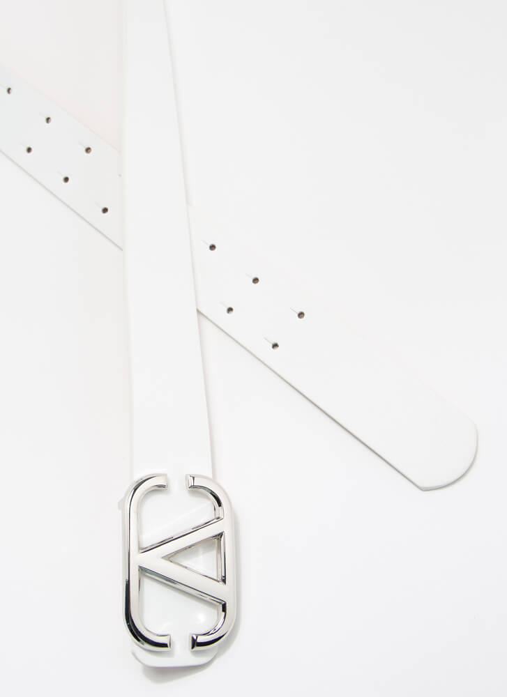 V Mine Forever Faux Leather Belt WHITE