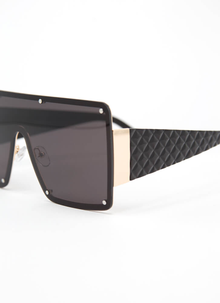 Luxury Brand Quilted Shield Sunglasses BLACK