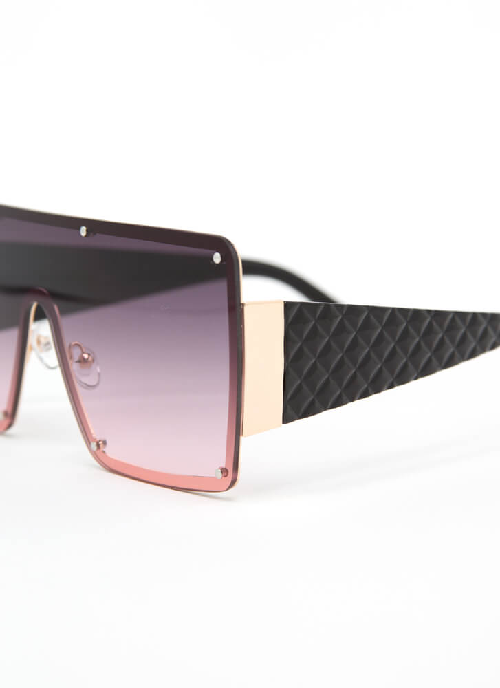 Luxury Brand Quilted Shield Sunglasses PURPLE