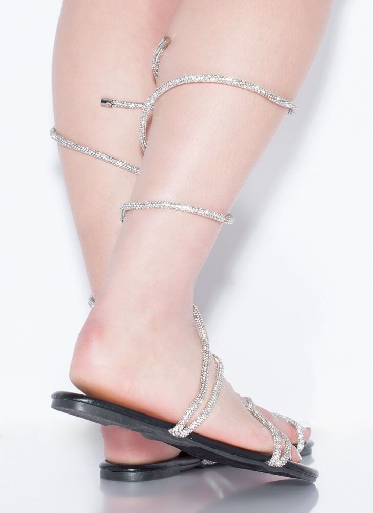Wrap And Roll Coiled Rhinestone Sandals BLACK