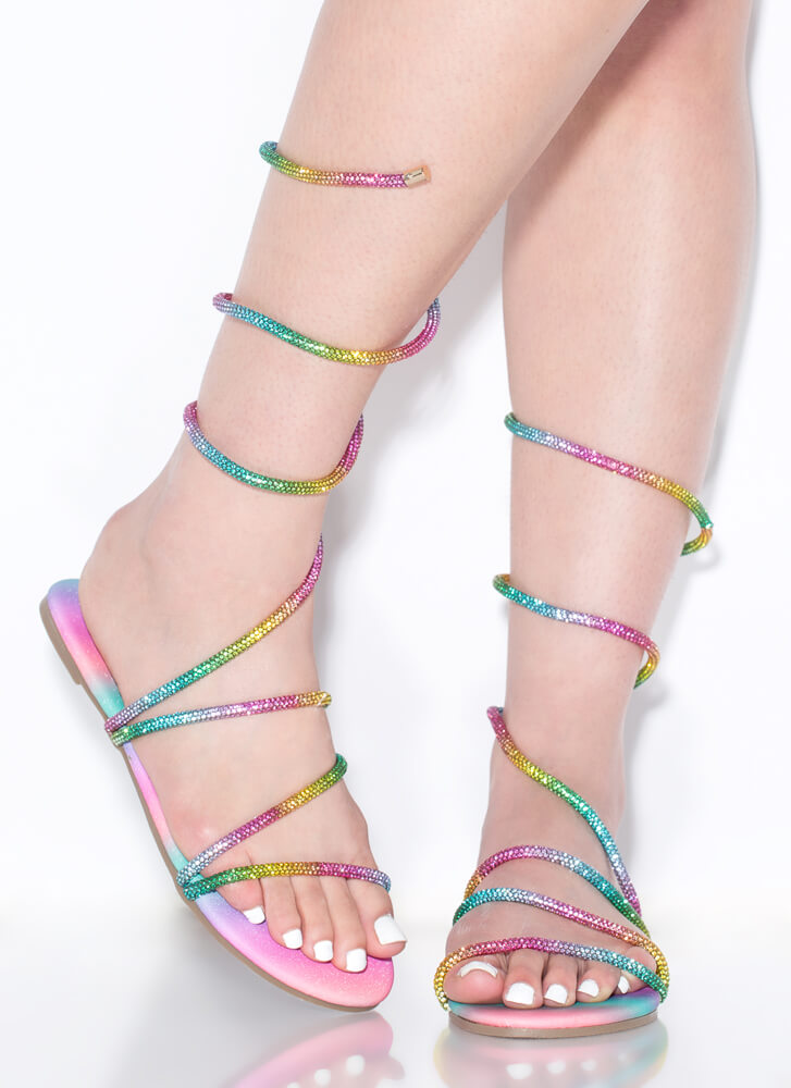 Wrap And Roll Coiled Jeweled Sandals PINK