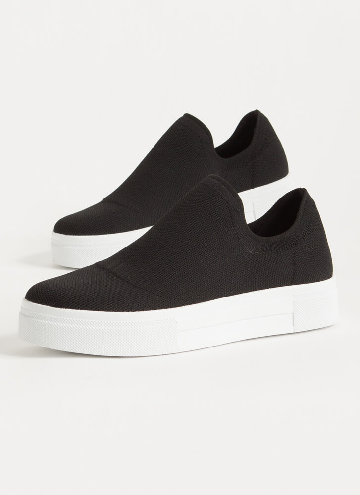 Knits So Easy Solid Slip-On Sneakers BLACK