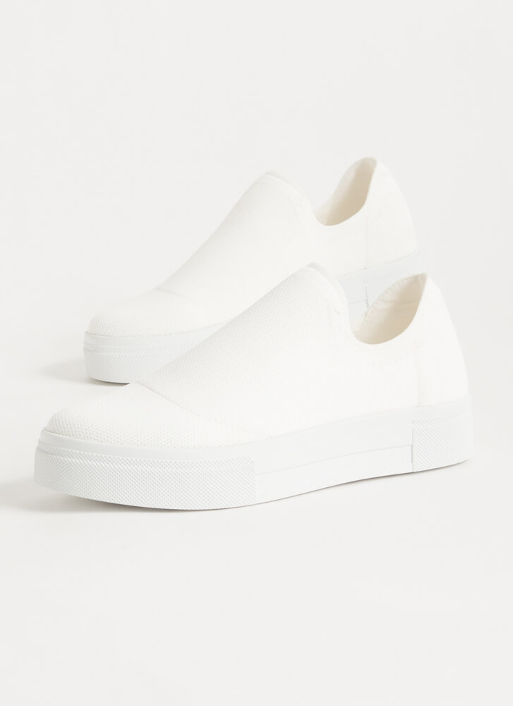 Knits So Easy Solid Slip-On Sneakers WHITE