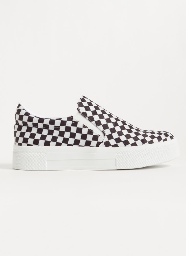 Game Of Checkers Slip-On Sneakers BLACK