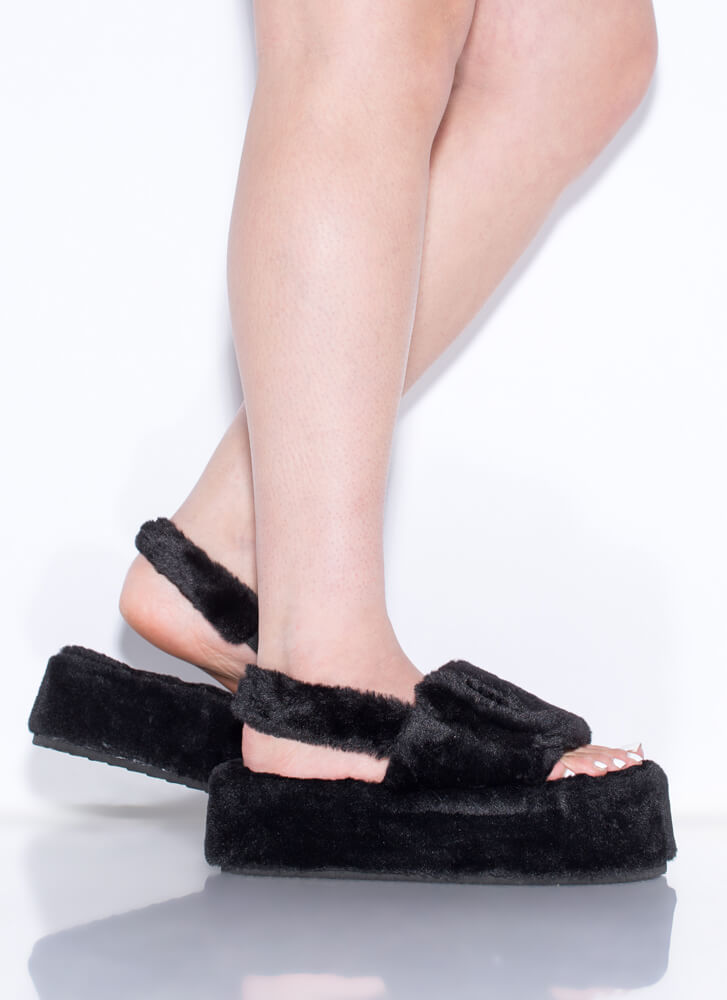 Soft Opening Furry Platform Sandals BLACK