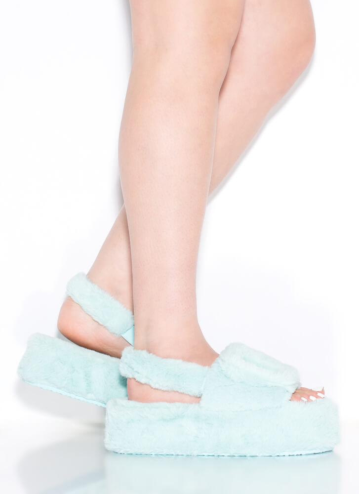Soft Opening Furry Platform Sandals MINT