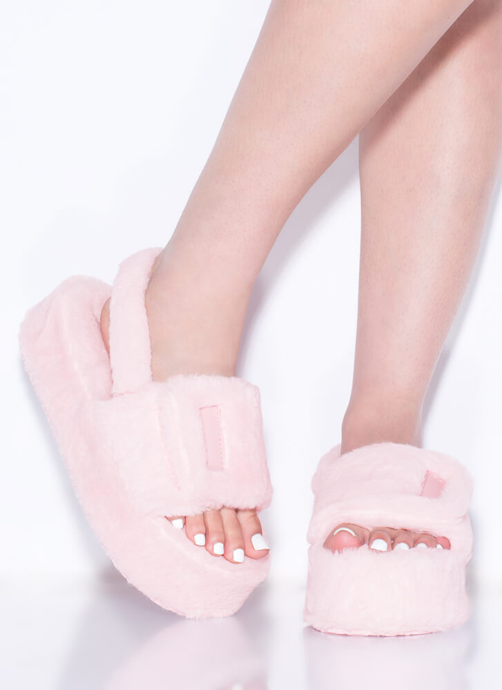 Soft Opening Furry Platform Sandals PINK