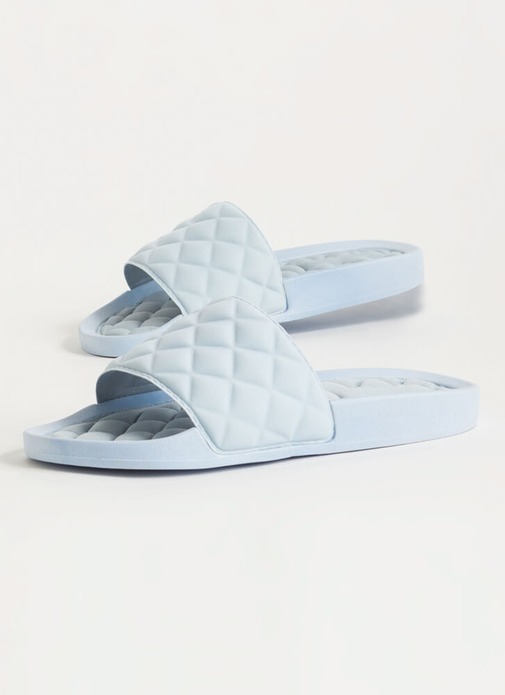 Treat Yo' Feet Quilted Slide Sandals LTBLUE