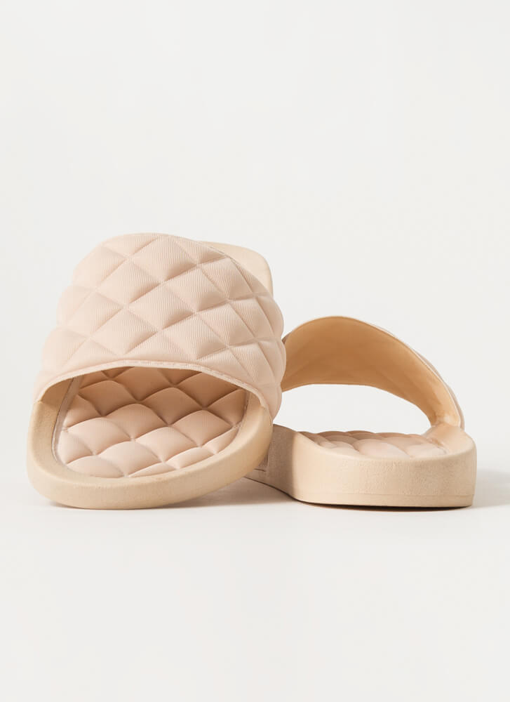 Treat Yo' Feet Quilted Slide Sandals NUDE