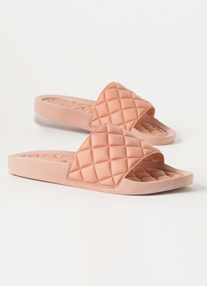 Treat Yo' Feet Quilted Slide Sandals PINK