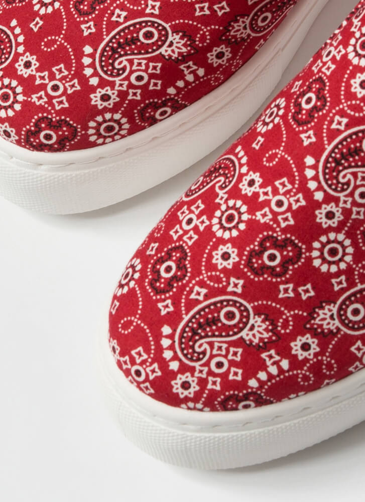 Bandana Babe Slip-On Platform Sneakers RED