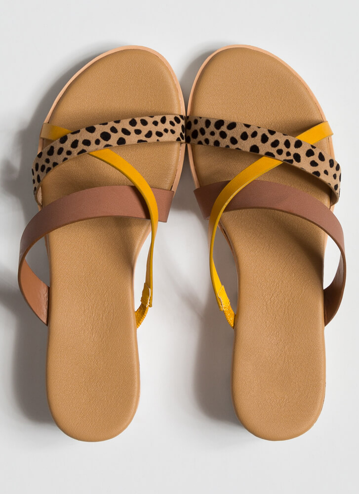 Animalistic Strappy Slide Sandals MAUVE