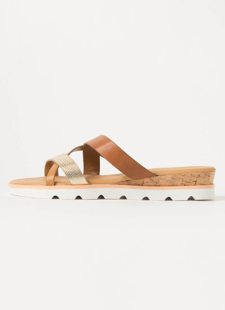 Animalistic Strappy Slide Sandals TAN