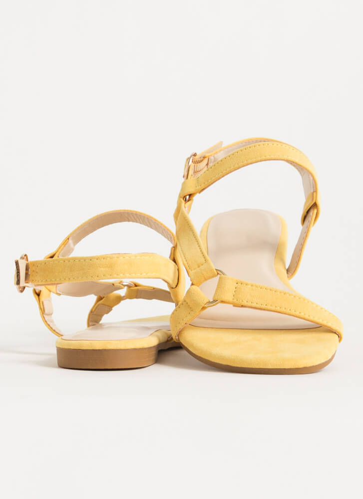 Refresh Strappy Faux Suede Sandals AMBER