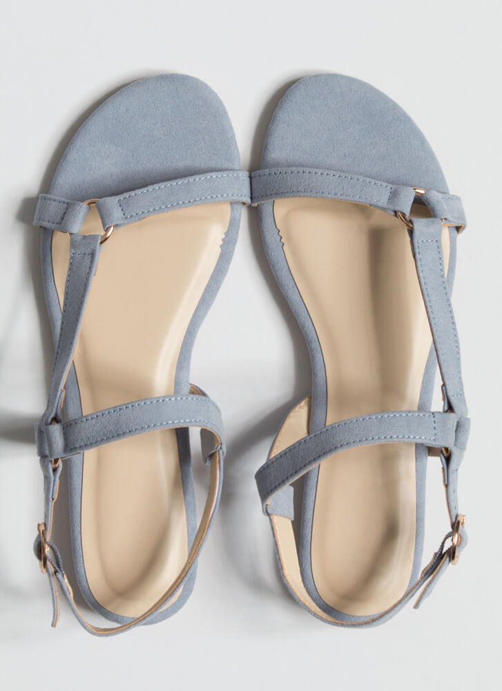 Refresh Strappy Faux Suede Sandals BABYBLUE