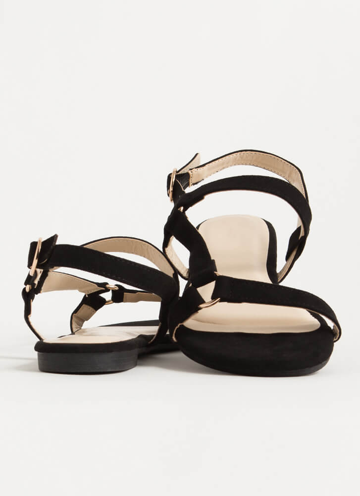 Refresh Strappy Faux Suede Sandals BLACK