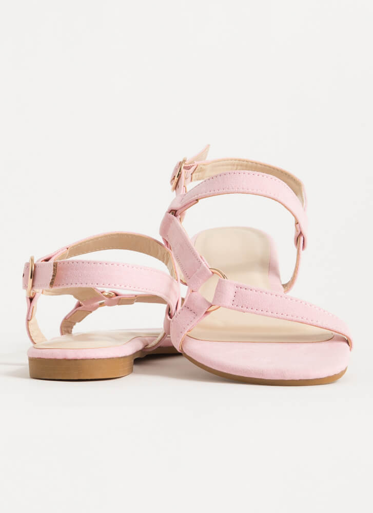 Refresh Strappy Faux Suede Sandals PINK