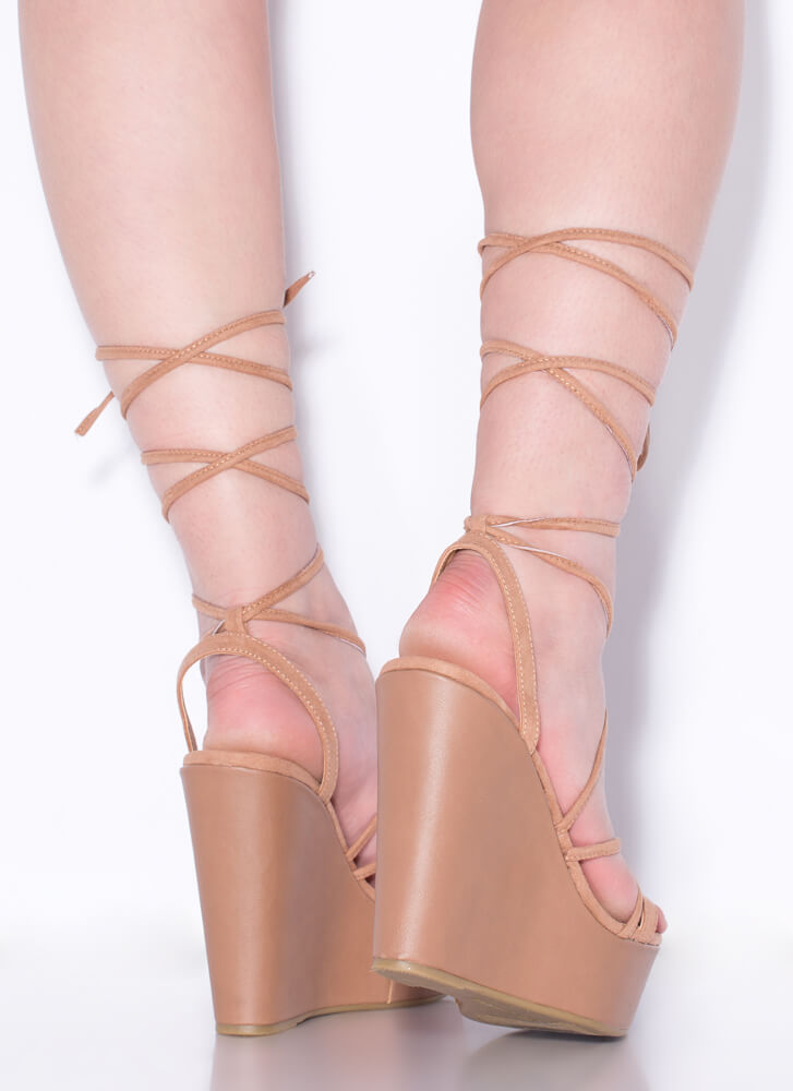 High Tied Lace-Up Platform Wedges CAMEL