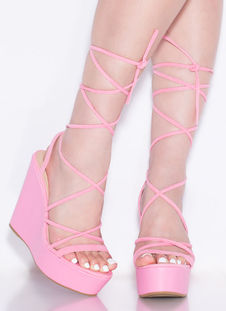 High Tied Lace-Up Platform Wedges PINK