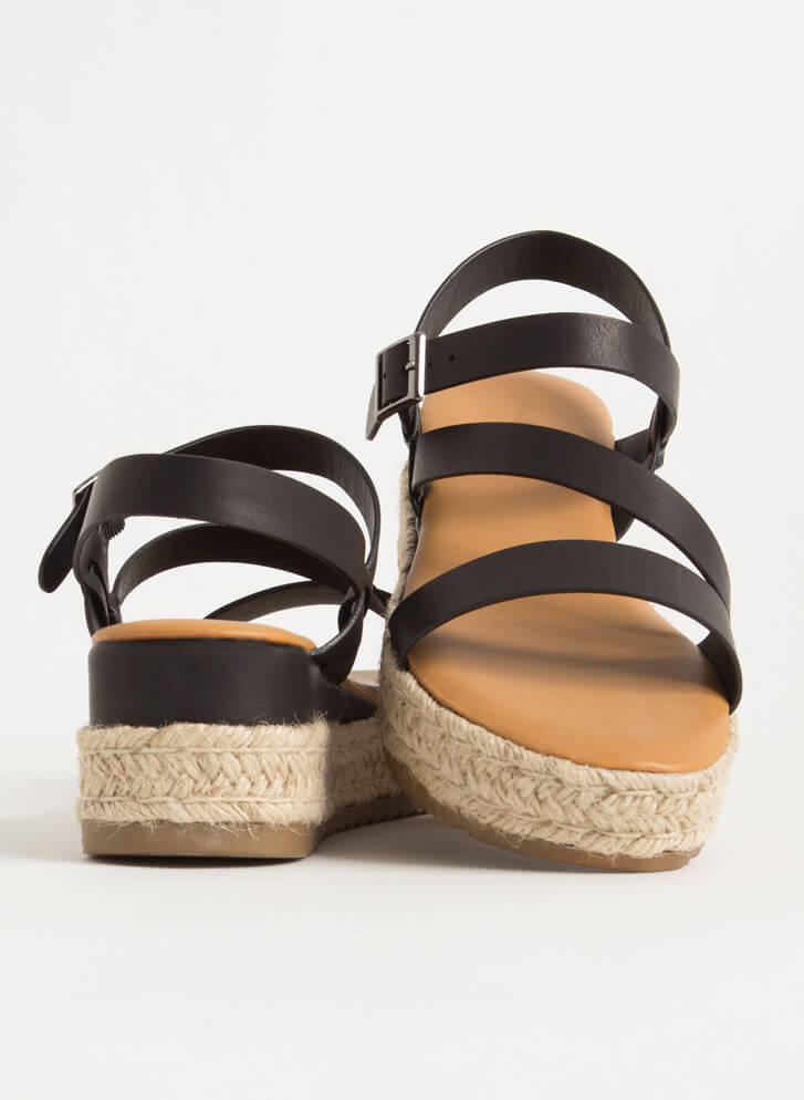 Strappy Vacation Braided Wedge Sandals BLACK