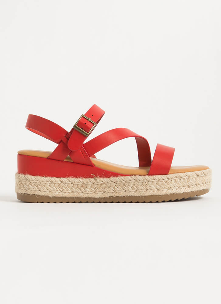 Strappy Vacation Braided Wedge Sandals RED