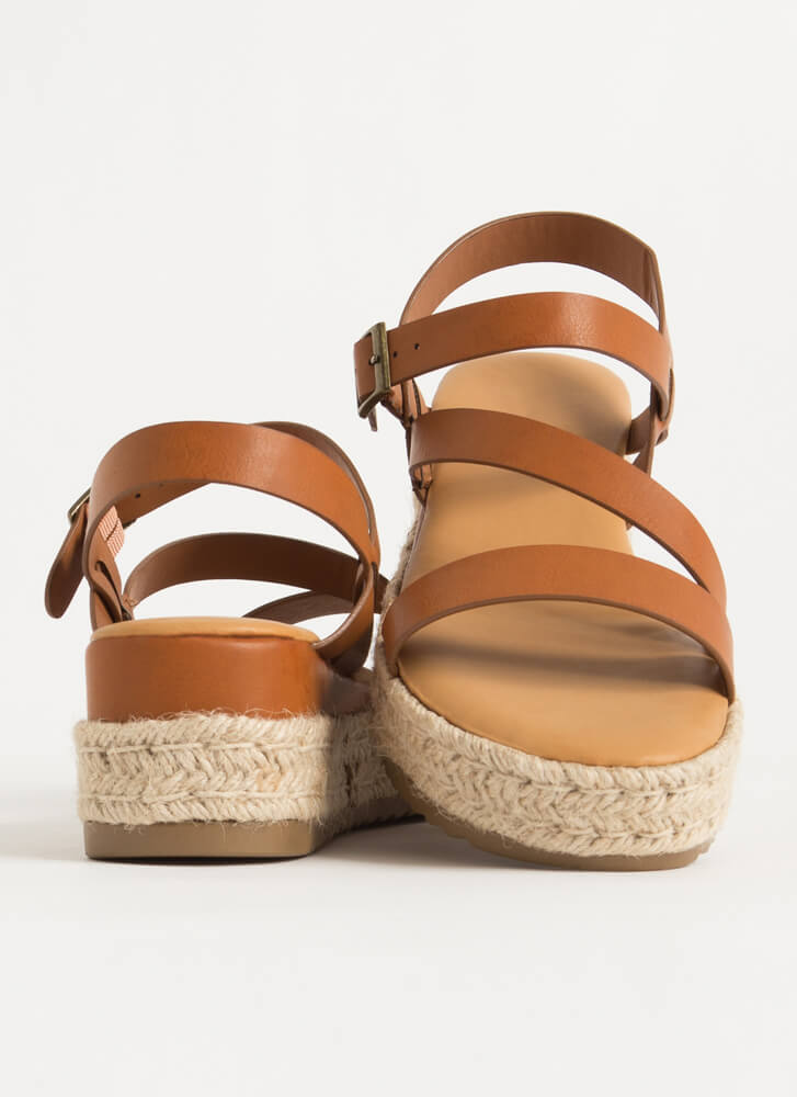 Strappy Vacation Braided Wedge Sandals TAN