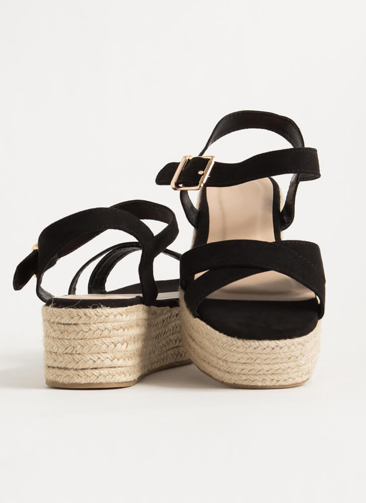 Spring Break Braided Platform Wedges BLACK