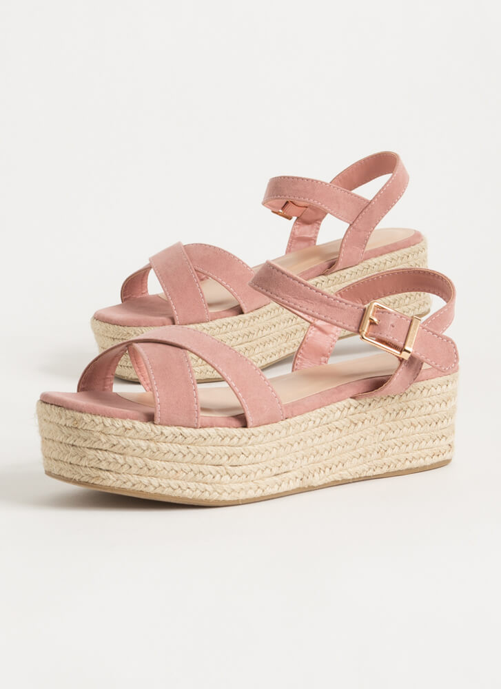 Spring Break Braided Platform Wedges BLUSH