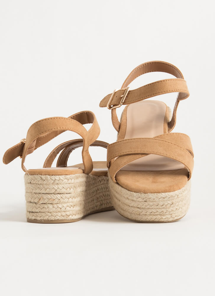 Spring Break Braided Platform Wedges TAN