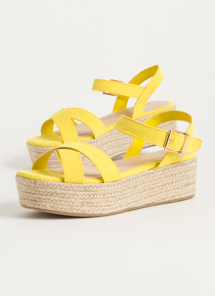 Spring Break Braided Platform Wedges YELLOW
