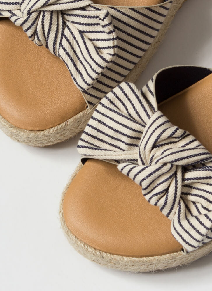 I'm Knot Home Pinstriped Slide Sandals NAVY