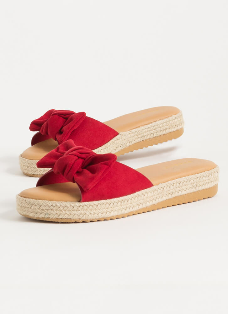 I'm Knot Home Faux Suede Slide Sandals RED