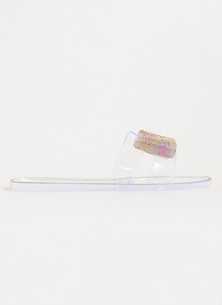 Rain-Bow Jeweled Jelly Slide Sandals CLEAR