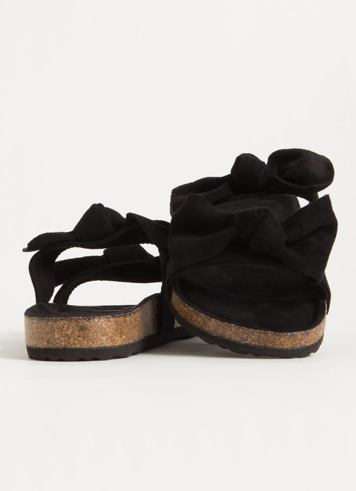 Bow Thang Knotted Slide Sandals BLACK