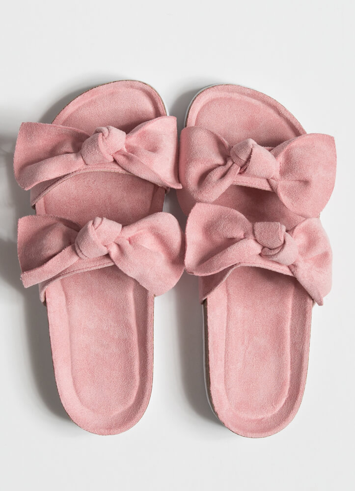 Bow Thang Knotted Slide Sandals PINK