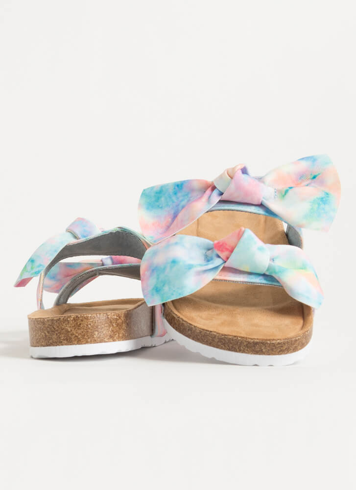 Bow Thang Knotted Tie-Dye Slide Sandals BLUE