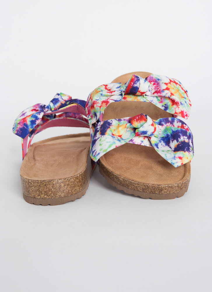 Bow Thang Knotted Tie-Dye Slide Sandals WHITE