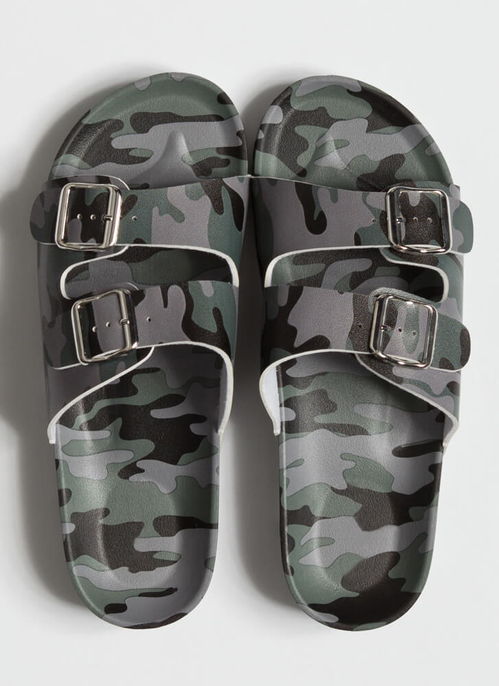 Have Fun Buckled Camo Slide Sandals GREY