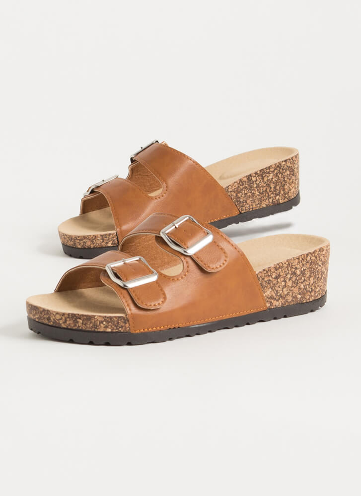 Slide This Way Buckled Wedge Sandals TAN