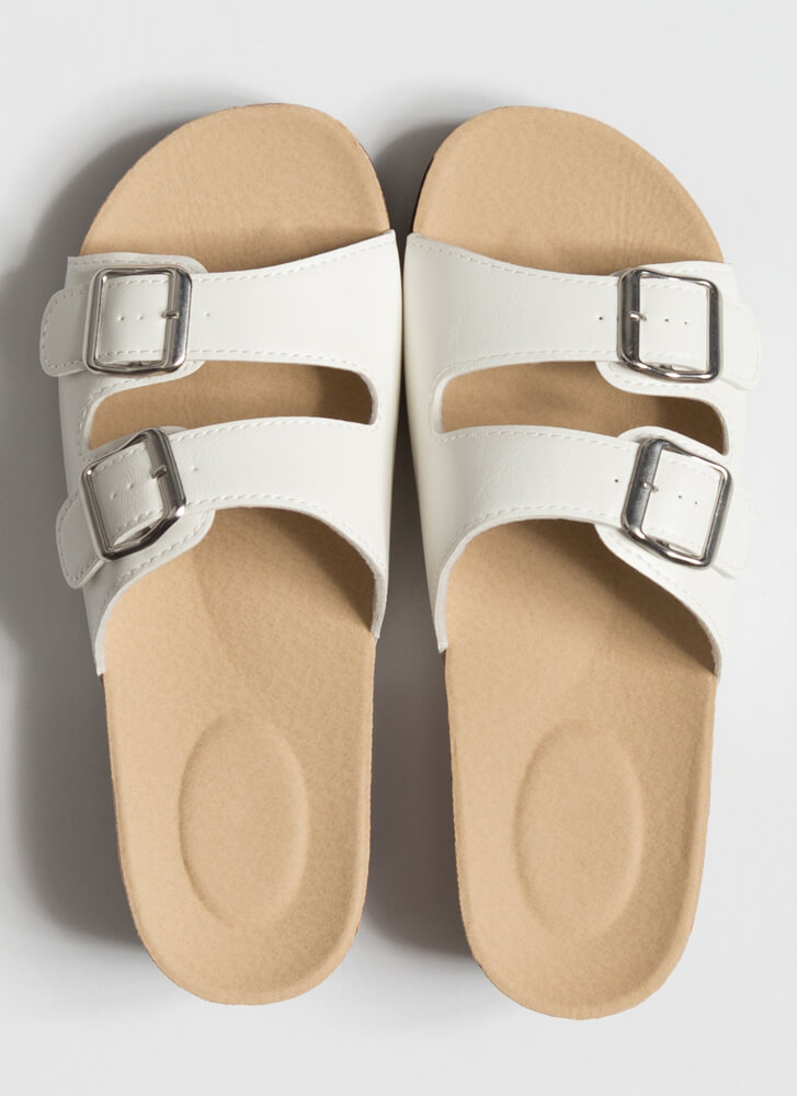 Slide This Way Buckled Wedge Sandals WHITE